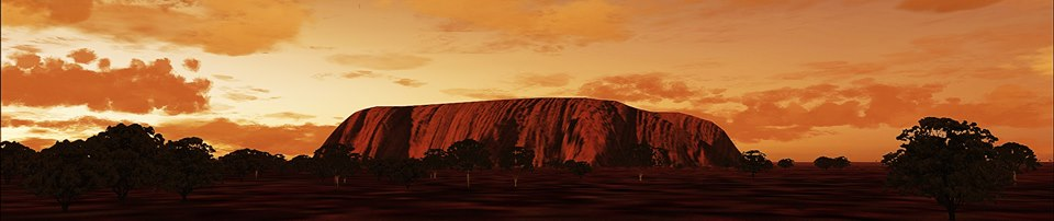 Just Another View, Shot of Ayers Rock from a different Perspective , minus Lens Flare....Just love the Australian trees, Tour buses are just behind us